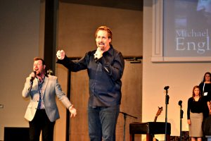 "Michael English and Steve Ladd singing, ""I Bowed On My Knees"" with the Riverdale Choir"
